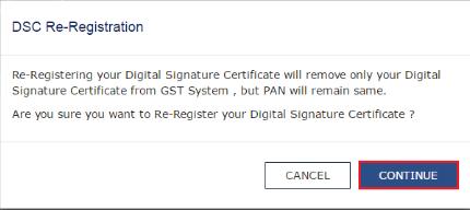 dsc re-registration - gst portal