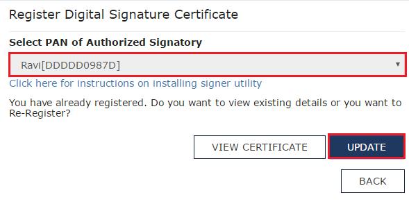 register digital signature - gst portal