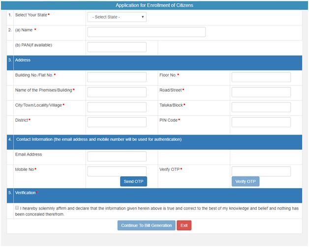 Application for Enrollment of Citizens