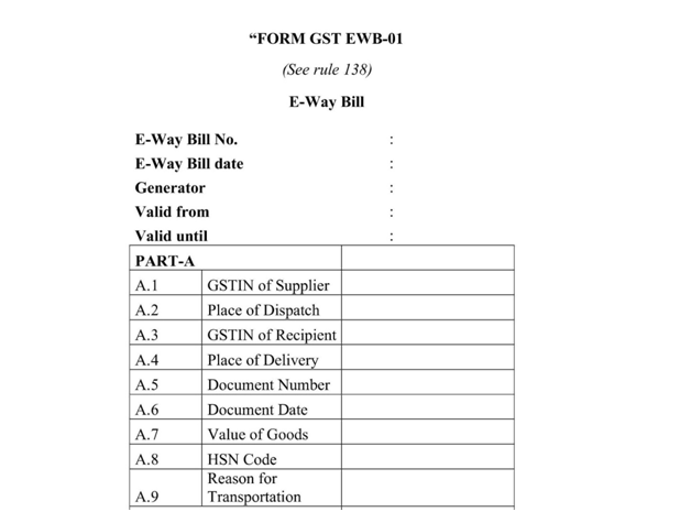 GST E-Way Bill Form EWB-01