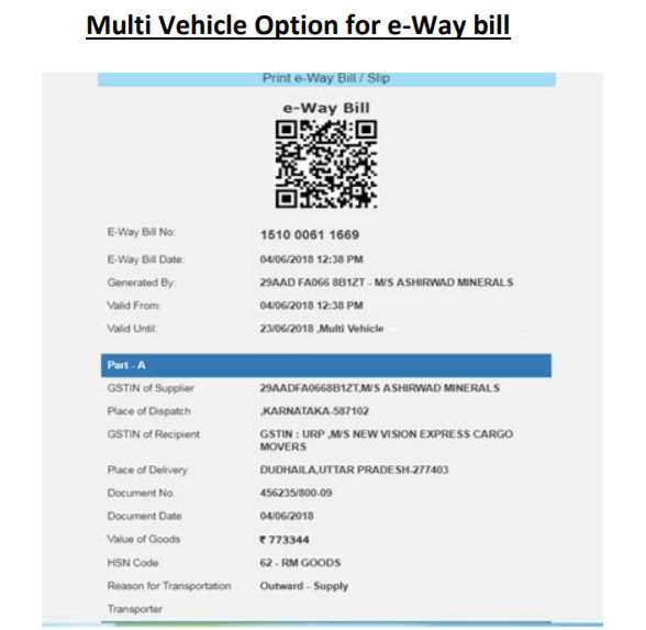 Multiple Vehicles Options for Eway Bill