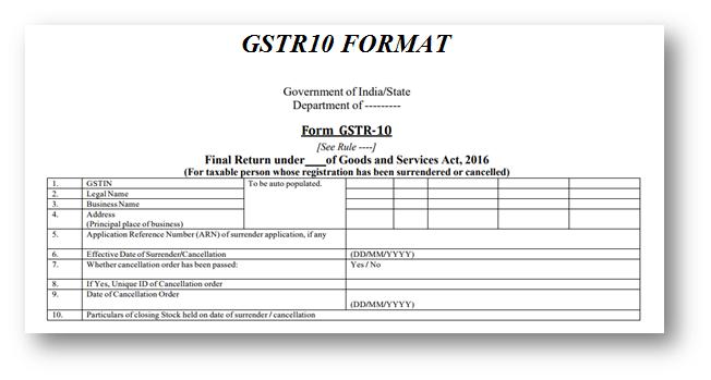 GSTR10 Format