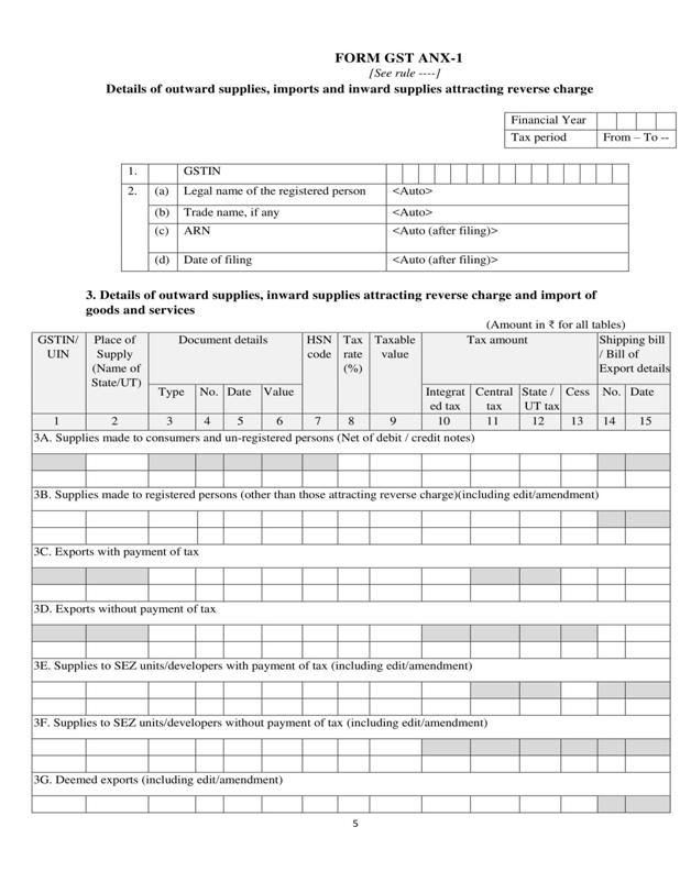 Normal New GST Return Form