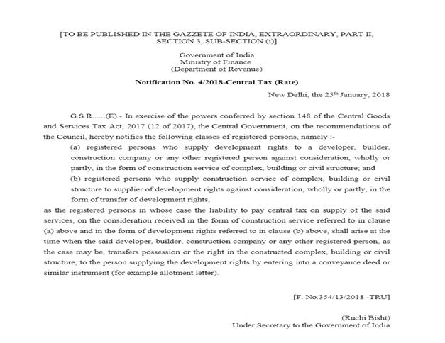 GST on Joint Development Agreement