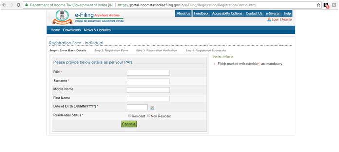 Income Tax Registration Process