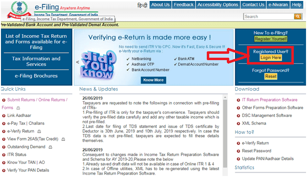 Income Tax e-Filing Login