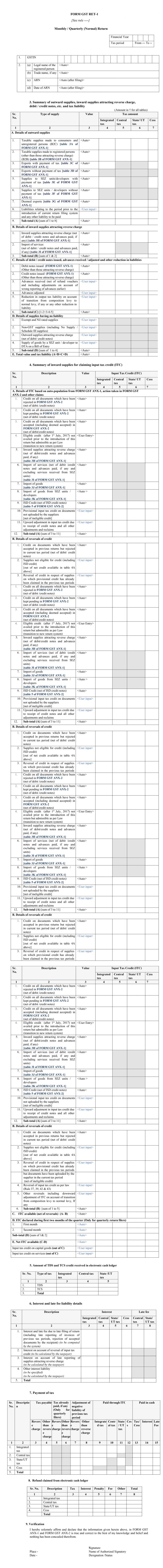 GST RET-1 Form Format