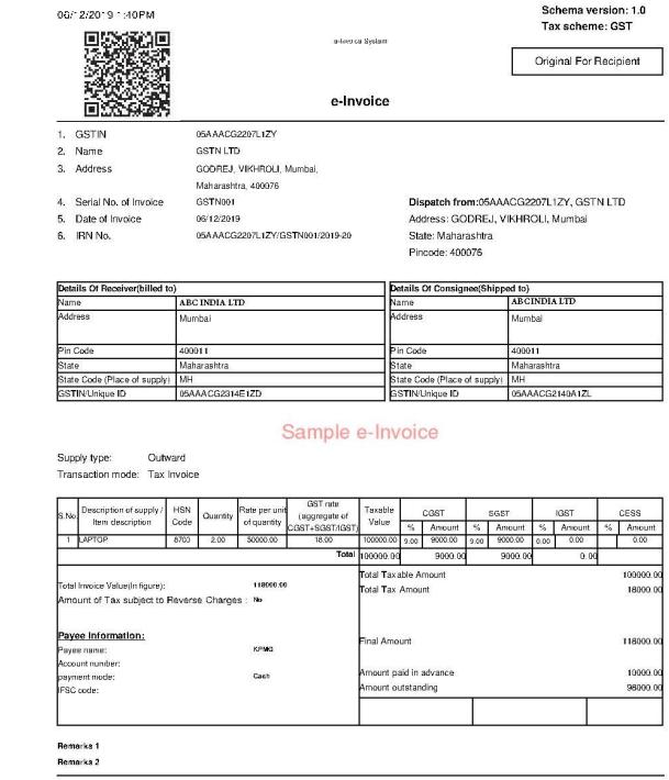 Sample e-Invoice