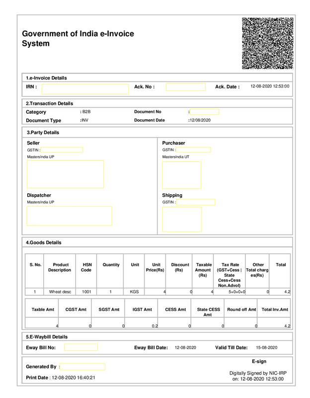Govt of India e-Invoice System