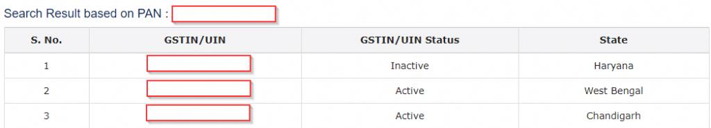 GSTIN Search By PAN