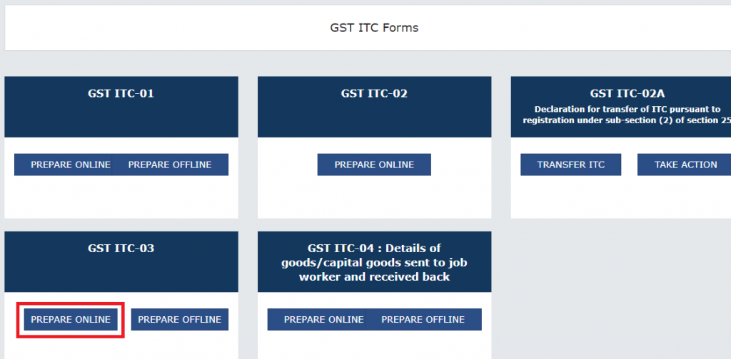 Form ITC-03 Online