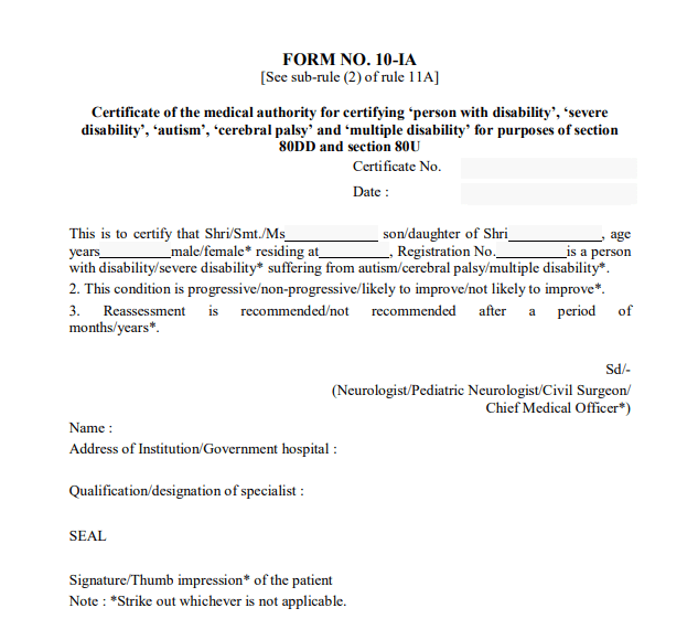 Format Of Form 10-IA