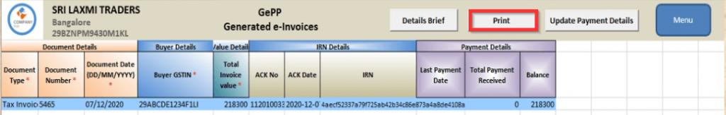 E-Invoice Generation