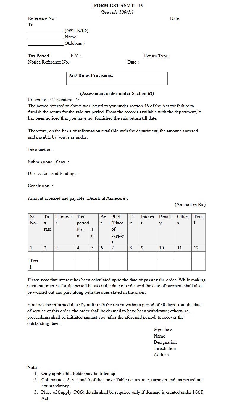 Form GST ASMT-13