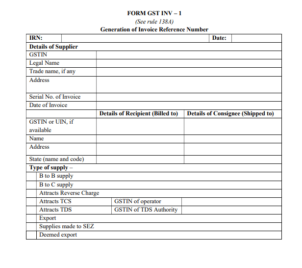 Format Of GST INV- 01
